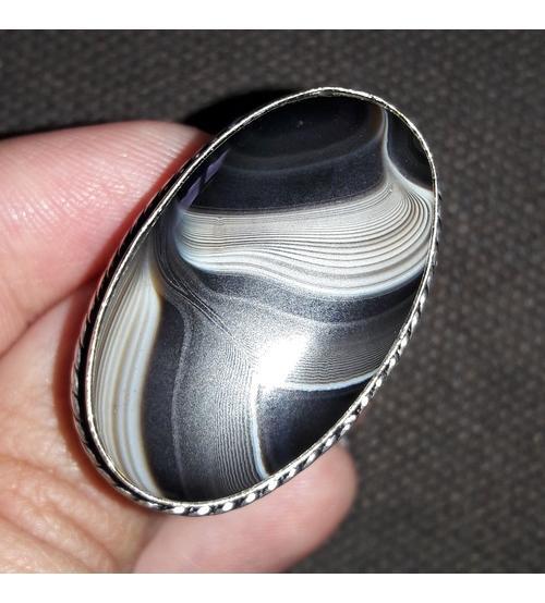 Серебряное кольцо с натуральным черным агатом 19р