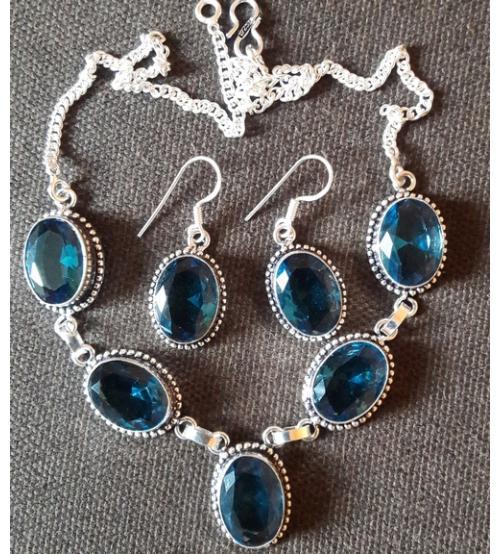купить комплект украшений с голубым кварцем