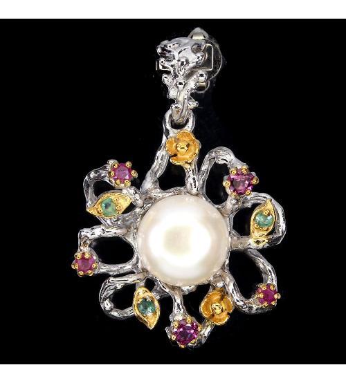 """Серебряный кулон """"Жемчужный цветок"""" с натуральными камнями"""