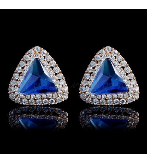 серьги с голубыми кристаллами