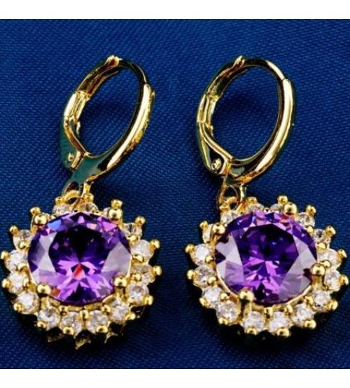 Серьги в позолоте с фиолетовыми камнями Опера - Высокое качество. Доставка по Украине.