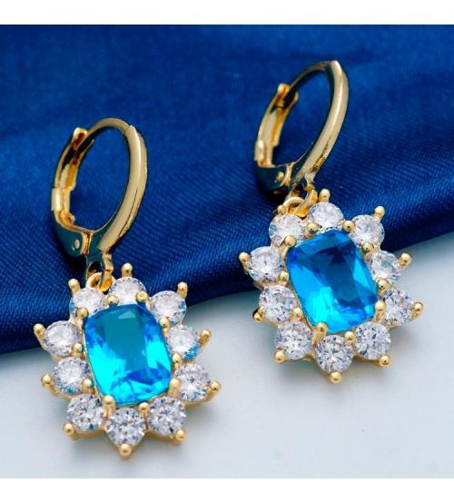 Серьги в позолоте с голубыми камнями Антара - Высокое качество. Доставка по Украине.