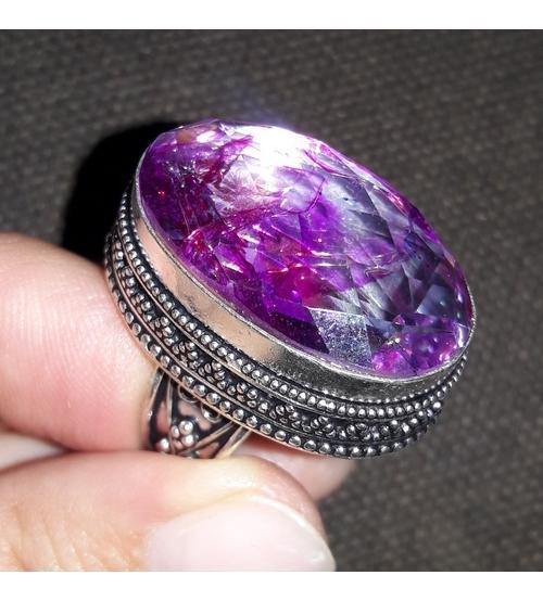 винтажное серебряное кольцо с кварцем