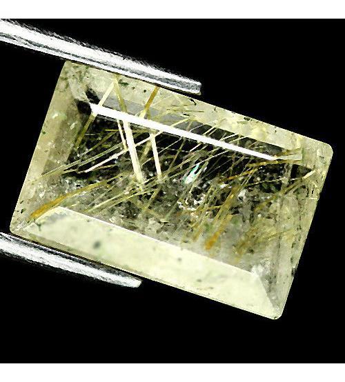 4.04Ct Натуральный Рутиловый кварц (Волосатик) 13*8.5мм багет
