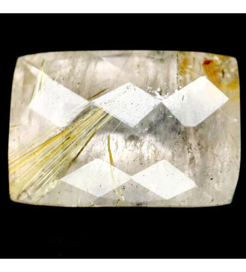 9.82Ct Натуральный Рутиловый кварц (Волосатик) 20*11мм багет чеканка