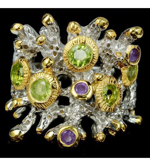"""Арт-коллекция: Серебряное кольцо с драгоценными камнями """"Маракеш"""""""