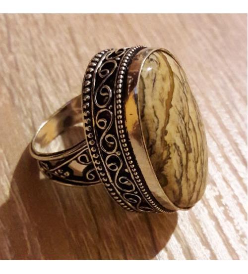 Винтажное Серебряное кольцо с Пейзажной Яшмой 18р