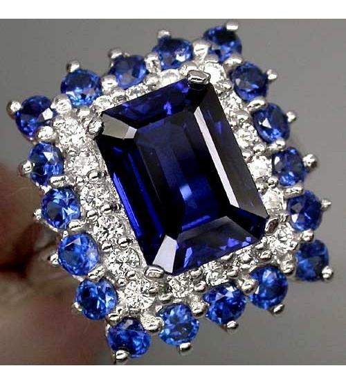 купить кольцо с синими камнями