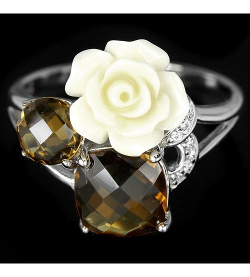 кольцо с кораллом роза цена