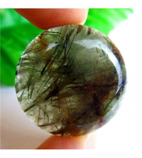 38Ct Рутиловый кварц (Волосатик) 25мм круг кабошон