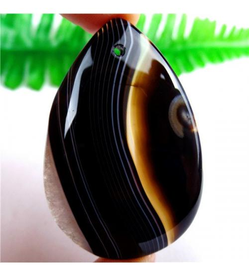 97.5Ct Натуральный черный полосатый оникс 50*33мм