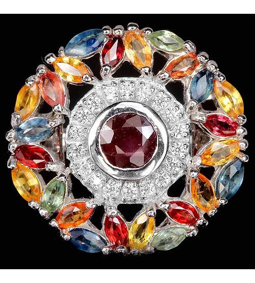 """Огромное серебряное кольцо с рубином и сапфиром """"Богемия"""" 18.5р"""