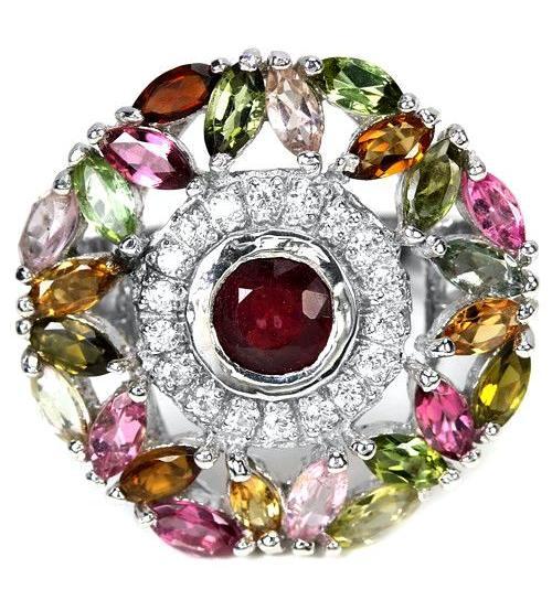 """Огромное серебряное кольцо с рубином и турмалином """"Богемия"""" 18.5р"""