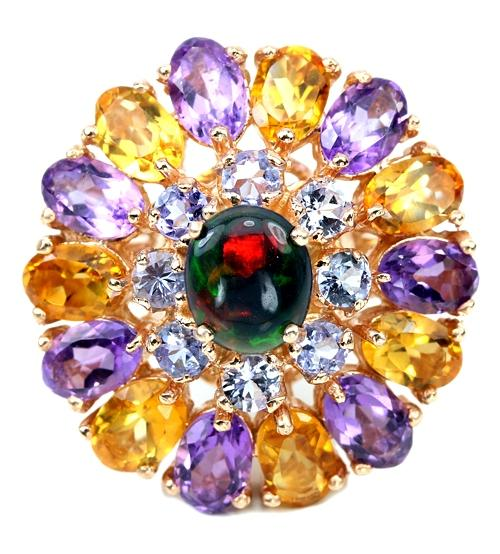 купить кольцо с черным опалом и другими камнями