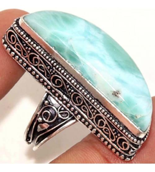 Серебряное кольцо с натуральным ларимаром 18р