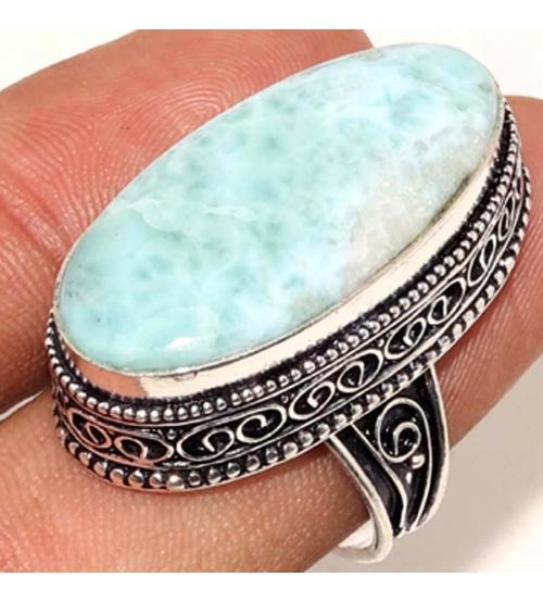 Винтажное Серебряное кольцо с натуральным Ларимаром 18р (Доминикана)
