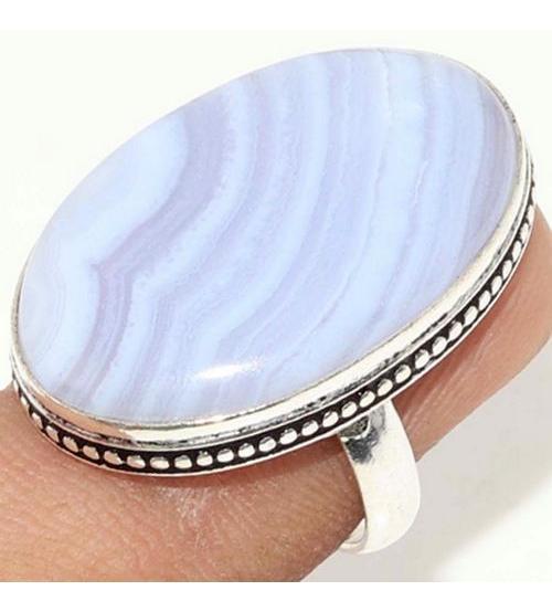 Серебряное кольцо с натуральным кружевным агатом 18р