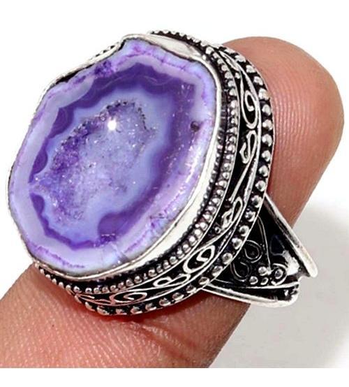 Винтажное серебряное кольцо с фиолетовой друзой агата 18.5р