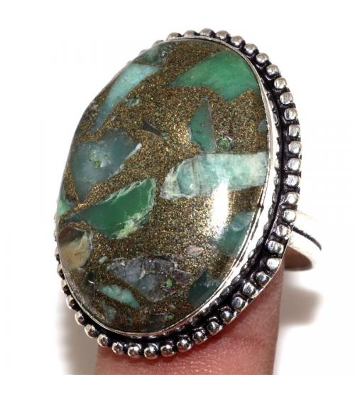 Серебряное кольцо с хризопразом в пирите 19.5р