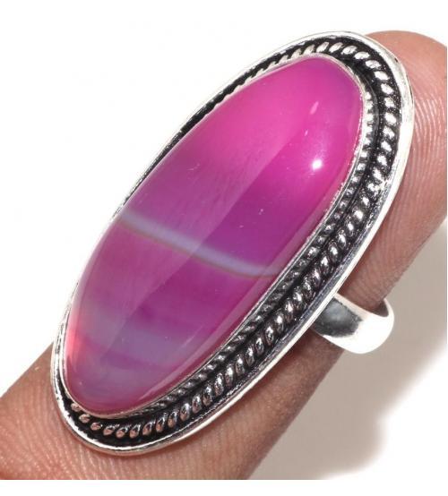 Серебряное кольцо с натуральным агатом 17.0р