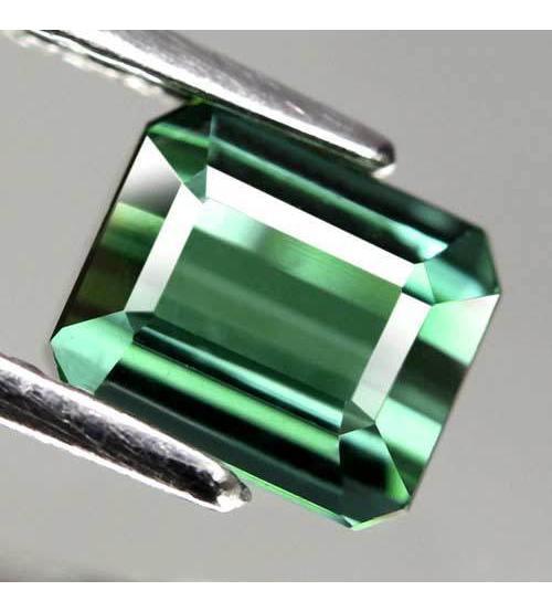 1.68CT Натуральный турмалин зелено-синий (индиголит) 6.5*5.6мм (октагон) Видео