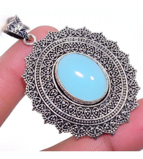 Крупный серебряный кулон с халцедоном в винтажном стиле