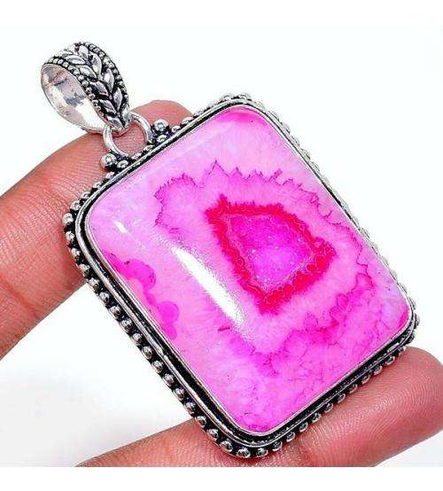 Крупный серебряный кулон с розовым солнечным кварцем