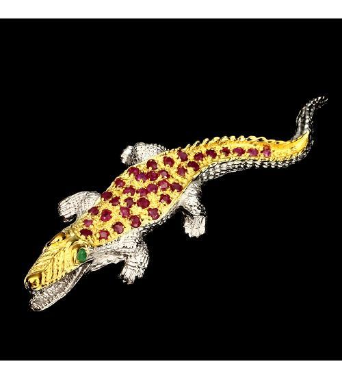 """Серебряная брошь с рубинами и изумрудами """"Крокодил"""""""