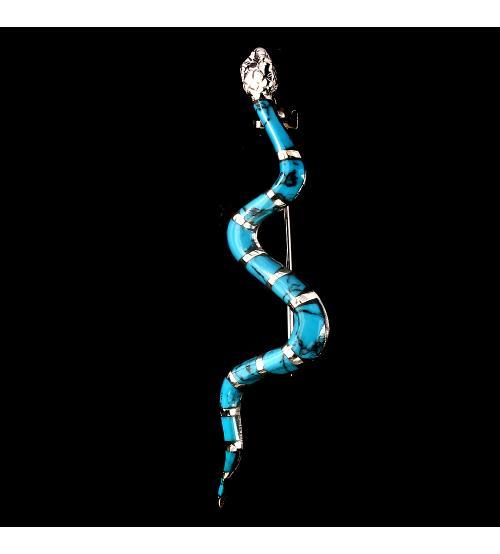 Серебряная брошь Змея натуральная Аризонская бирюза