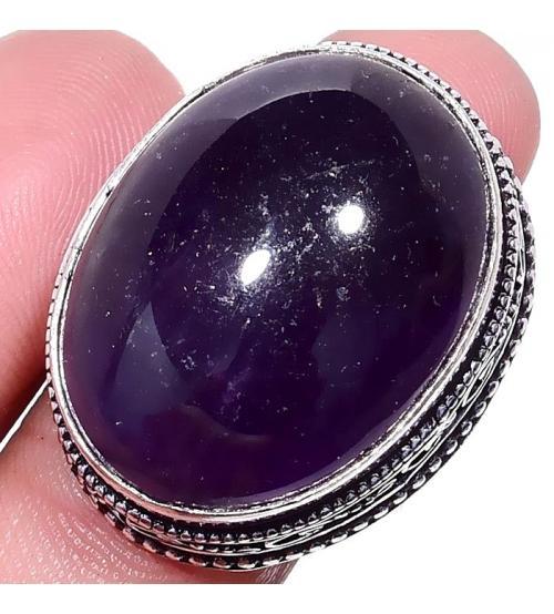 кольцо с аметистом кабошон цена