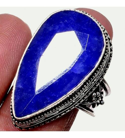 Серебряное кольцо с индийским сапфиром (корундом) в винтажном стиле 19.5р
