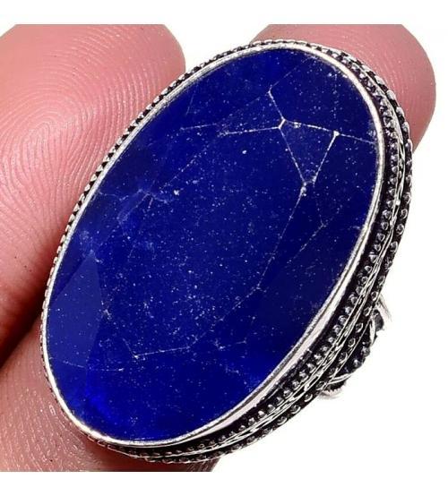 Серебряное кольцо с индийским сапфиром (корундом) в винтажном стиле 19р