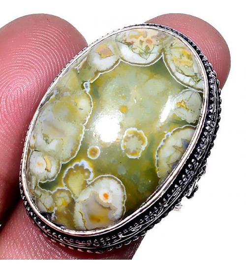 Серебряное кольцо с камнем Риолит в Античном стиле 18р