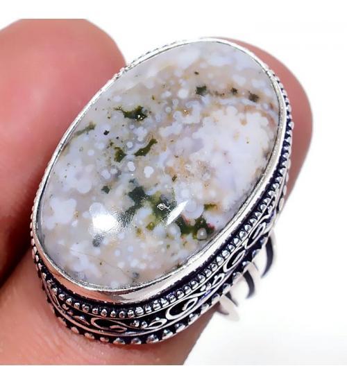 Серебряное кольцо с Океанической Яшмой 19р в винтажном стиле