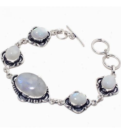 Серебряный браслет с натуральным лунным камнем (адуляром)