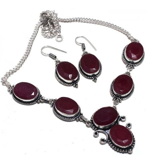 Серебряный комплект с индийским рубином (корундом) серьги+ ожерелье