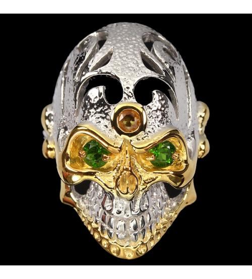 мужская печатка череп с натуральными камнями цена
