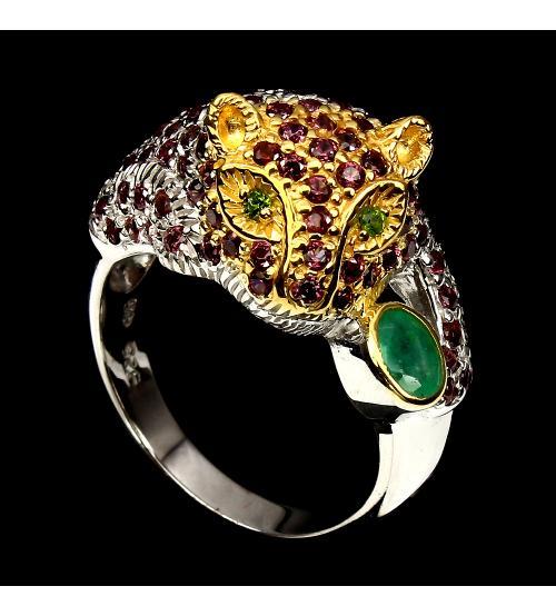 кольцо тигр с драгоценными камнями