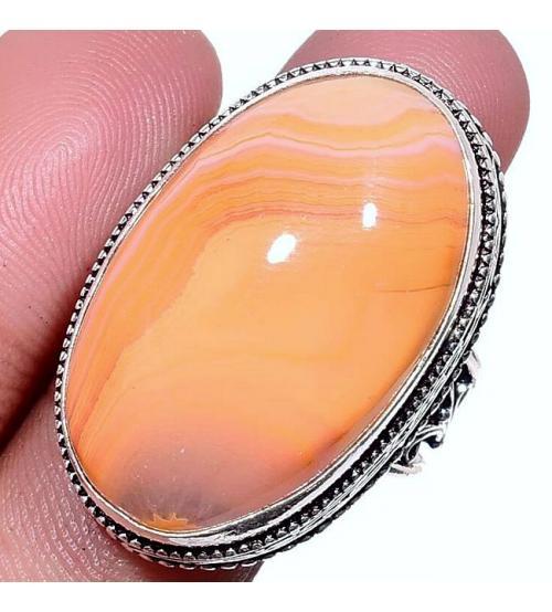 Серебряный перстень с оранжевым агатом 19р
