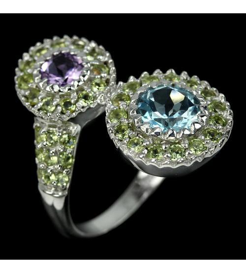 Серебряное кольцо с натуральными камнями купить в Киеве