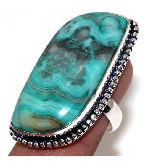 Серебряное кольцо с зеленым кружевным агатом 17.5р