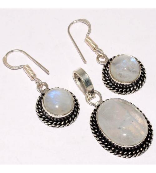 серебряный комплект с натуральным лунным камнем
