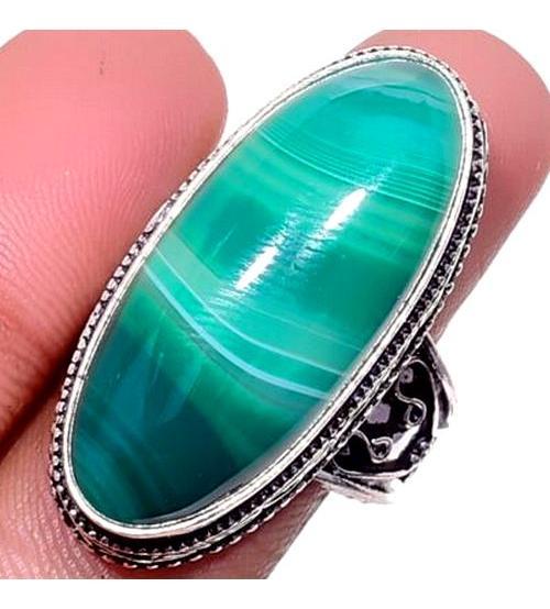 Серебряный перстень с зеленым Ботсванским агатом 18р