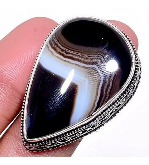 Серебряное кольцо с натуральным Ботсванским агатом 18р