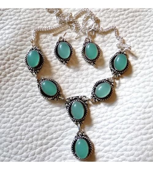 серебряный комплект с зеленым халцедоном