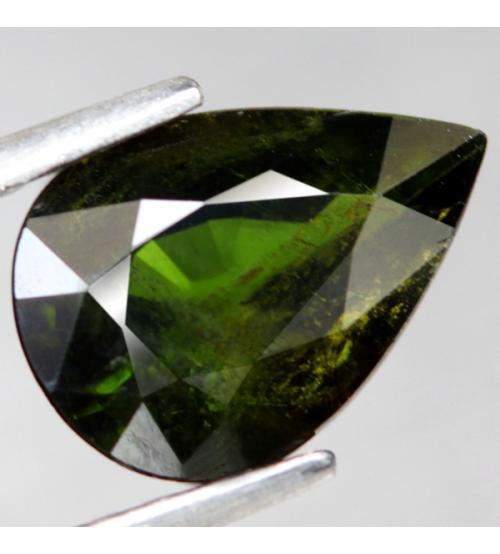 1.61CT Натуральный зеленый турмалин 9.6*6.8мм (груша)