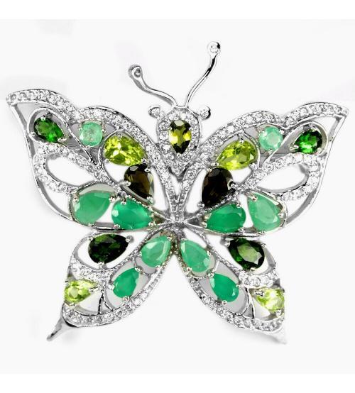 """Серебряная брошь с драгоценными камнями """"Бабочка"""""""