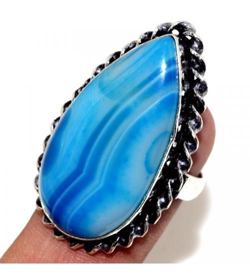 Серебряное кольцо с голубым агатом 16р