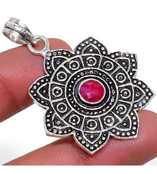 Серебряный кулон с индийским рубином (корундом)