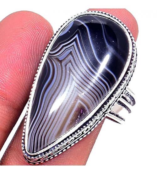 Серебряное кольцо с натуральным Ботсванским агатом 22р